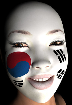 South Korean Flag painted on a face